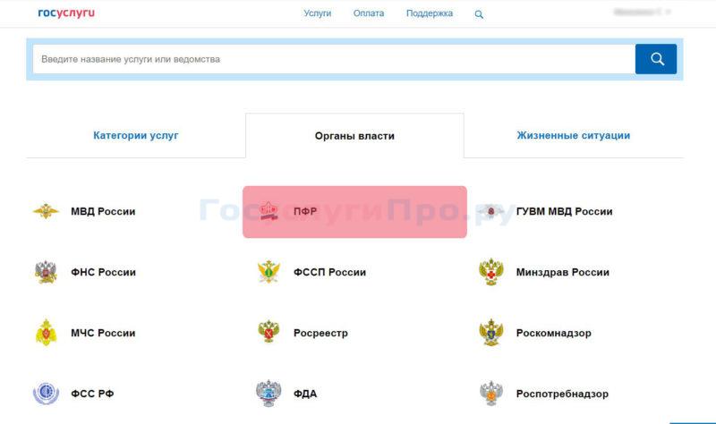 Пенсионный Фонд России на сайте Госуслуг
