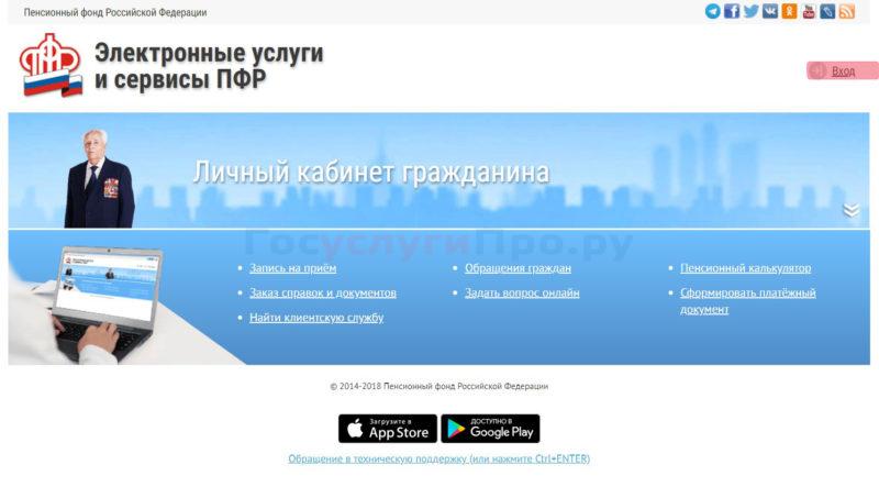 Сайт ПФР вход